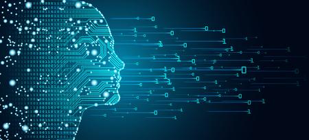 Konzept für Big Data und künstliche Intelligenz. Maschinelles Lernen und Cyber Mind Domination-Konzept in Form von Frauen stehen Umrisskontur mit Leiterplatte und binärem Datenfluss auf blauem Hintergrund.
