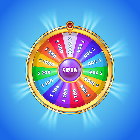 Realistic spinning wheel of fortune with rainbow colored sectors and golden case isolated on blue gradient background. Casino, gambling, fortune concept