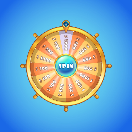 Realistic spinning wheel of fortune with yellow and orange colored sectors and golden case isolated on blue gradient background. Casino, gambling, fortune concept