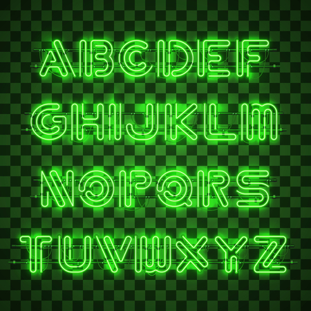 Glowing Green Neon Alphabet with letters from A to Z and digits from 0 to 9 on transparent background. Glowing neon effect. Every letter is separate unit with wires, tubes, brackets and holders. Ilustracja