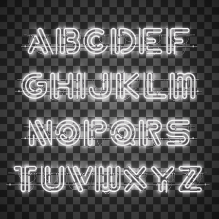 Glowing White Neon Alphabet with letters from A to Z and digits from 0 to 9 on transparent background. Glowing neon effect. Every letter is separate unit with wires, tubes, brackets and holders.