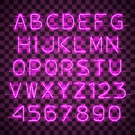 Glowing purple neon alphabet with letters from A to Z and digits from 0 to 9 on transparent background. Shining neon effect. Every letter is separate unit with wires, tubes, brackets and holders.