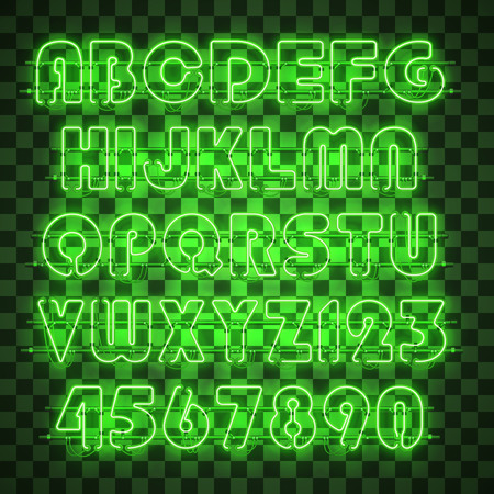 Glowing green neon alphabet with letters from A to Z and digits from 0 to 9 on transparent background. Shining neon effect. Every letter is separate unit with wires, tubes, brackets and holders. Ilustracja