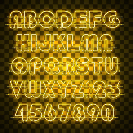 Glowing yellow neon alphabet with letters from A to Z and digits from 0 to 9 on transparent background. Shining neon effect. Every letter is separate unit with wires, tubes, brackets and holders.