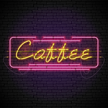 Shining and glowing yellow neon coffee sign in red frame. Bright night coffee house sign, night advertisement logo, vector illustration.
