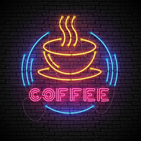 Shining and glowing yellow neon coffee sign in blue frame with red high coffee cup. Bright coffee house sign, night advertisment logo, vector illustration.