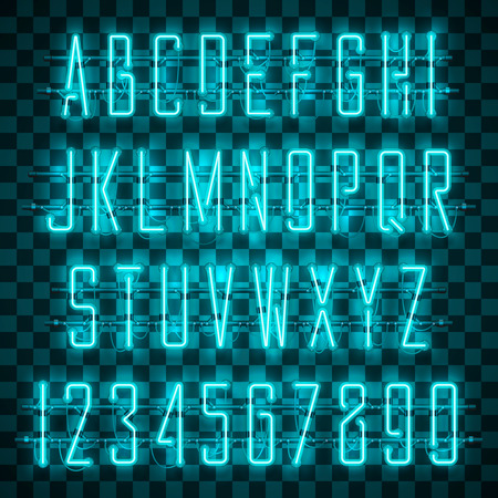 Glowing blue neon alphabet with letters from A to Z and digits from 0 to 9 on transparent background. Shining neon effect. Every letter is separate unit with wires, tubes, brackets and holders.