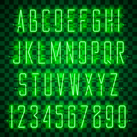 Glowing green neon alphabet with letters from A to Z and digits from 0 to 9 on transparent background. Shining neon effect. Every letter is separate unit with wires, tubes, brackets and holders. Zdjęcie Seryjne - 110027752