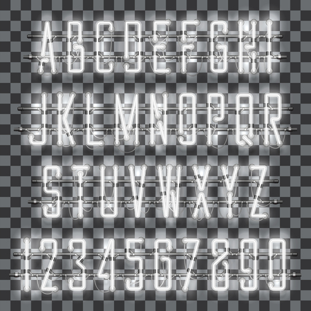 Glowing white neon alphabet with letters from A to Z and digits from 0 to 9 on transparent background. Shining neon effect. Every letter is separate unit with wires, tubes, brackets and holders.