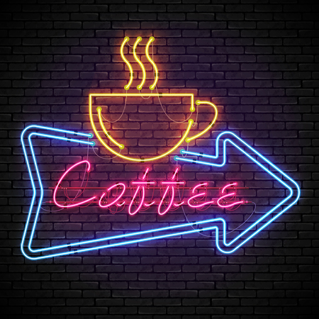 Shining and glowing red neon coffee sign in blue arrow frame with yellow coffee cup on brick wall. Bright coffee house sign, night advertisement logo, vector illustration.