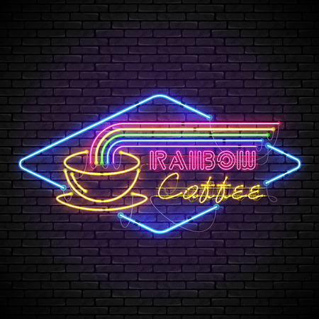 Shining and glowing rainbow neon coffee sign in blue rhomb frame with yellow coffee cup on brick wall. Bright coffee house sign, night advertisement logo, vector illustration.