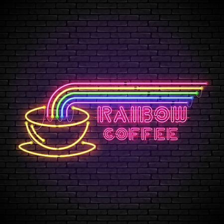 Shining and glowing rainbow neon coffee sign in with yellow coffee cup on brick wall. Bright coffee house sign, night advertisement logo, vector illustration.