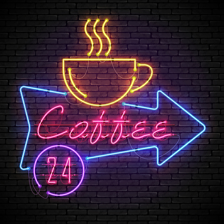 Shining and glowing red neon coffee sign in blue arrow frame with yellow coffee cup on brick wall.All day long in purple circle.Bright coffee house sign, night advertisement logo, vector illustration.
