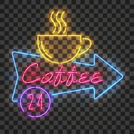 Shining and glowing red neon coffee sign in blue arrow frame with yellow coffee cup on transparent background. All day long in purple circle.Bright coffee house sign, night advertisement logo, vector.