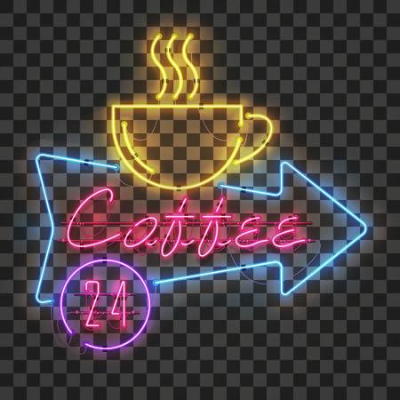 Signo de café de neón rojo brillante y brillante en marco de flecha azul con taza de café amarilla sobre fondo transparente. Todo el día en círculo morado Signo de cafetería brillante, logotipo de publicidad nocturna, vector.