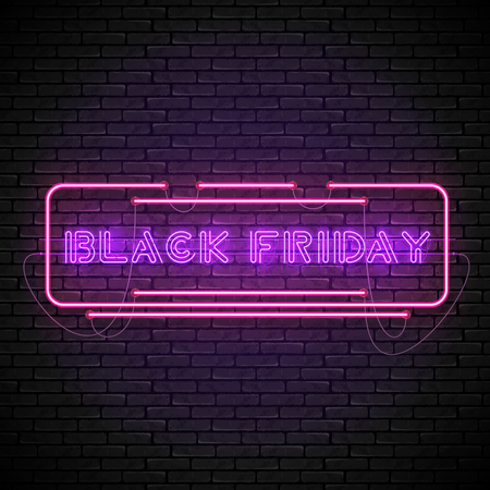 Shining and glowing realistic BLACK FRIDAY purple neon sign in red frame isolated on brick wall background. Bright neon sign, night advertisement logo, vector illustration.