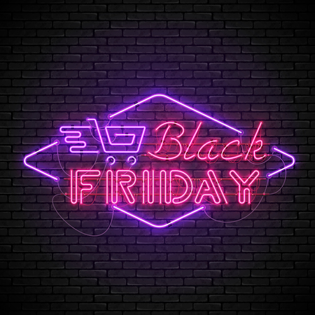 Shining and glowing realistic BLACK FRIDAY red neon sign with purple shopping cart isolated on brick wall background. Bright neon sign, night advertisement logo, vector illustration. Ilustracja