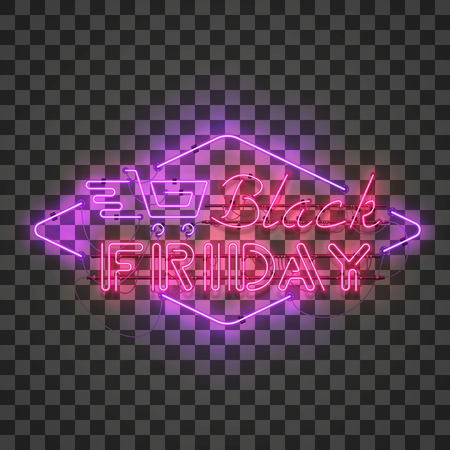 Shining and glowing realistic BLACK FRIDAY red neon sign with purple shopping cart isolated on transparent background. Bright neon sign, night advertisement logo, vector illustration.