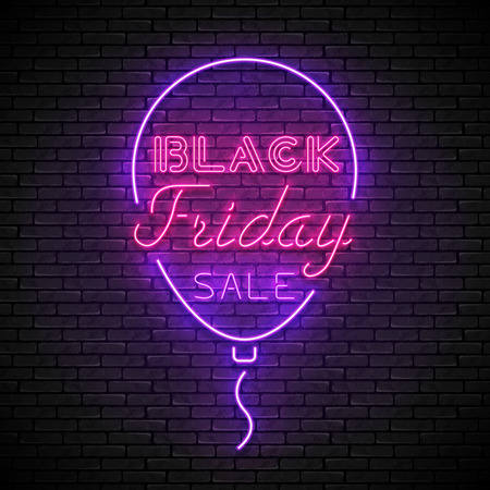 BLACK FRIDAY red neon sign with purple balloon Zdjęcie Seryjne - 120576570