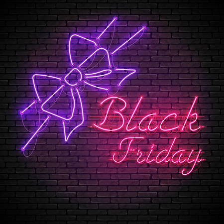 BLACK FRIDAY red neon sign with purple bow Ilustracja