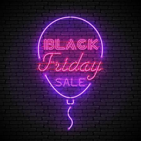 BLACK FRIDAY red neon sign with purple balloon Ilustracja