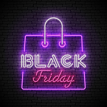 BLACK FRIDAY red and white neon sign with purple shopping bag Zdjęcie Seryjne - 120576586