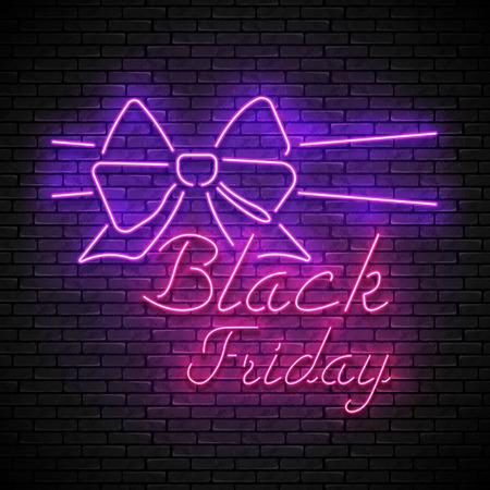BLACK FRIDAY red neon sign with purple bow Zdjęcie Seryjne - 120576587