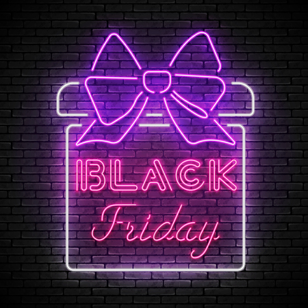 BLACK FRIDAY red neon sign with white present box
