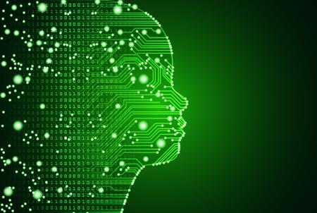 Big Data und künstliche Intelligenz-Konzept. Maschinelles Lernen und Cyber-Geist-Bildungskonzept in Form von Kindergesichtskonturen mit Leiterplatte und binärem Datenfluss auf grünem Hintergrund.