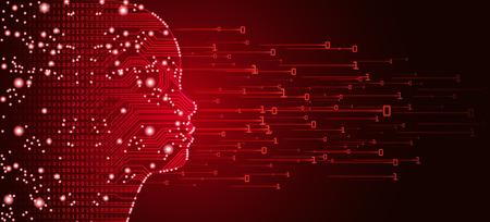 Big data e concetto di intelligenza artificiale. Apprendimento automatico e concetto di educazione alla mente cibernetica sotto forma di contorno del viso del bambino con circuito stampato e flusso di dati binari su sfondo rosso. Vettoriali