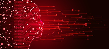 Big data en kunstmatige intelligentie concept. Machine learning en cyber mind onderwijs concept in de vorm van een kind gezicht overzicht met printplaat en binaire gegevensstroom op rode achtergrond. Vector Illustratie