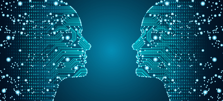 Big data, artificial intelligence, machine learning in online face-to-face marketing concept in form of two man faces outline with circuit board and binary data flow on blue background. Ilustracja