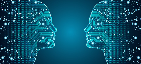 Big data, artificial intelligence, machine learning in online face-to-face marketing concept in form of two woman faces outline with circuit board and binary data flow on blue background. Ilustracja