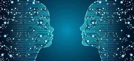 Big data, intelligence artificielle, apprentissage automatique dans la communication en ligne entre parents et enfants sous la forme de visages d'enfants et de femmes avec un circuit imprimé et un flux de données binaires.