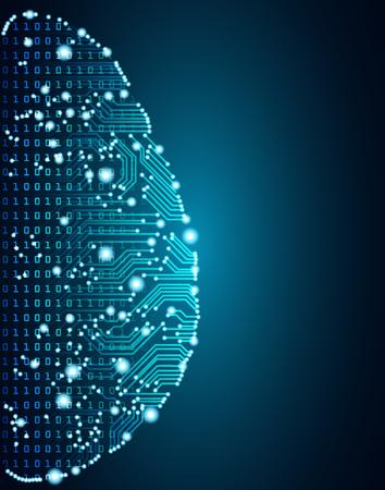 Big data et concept d'intelligence artificielle. Concept d'apprentissage automatique et de domination de l'esprit cyber sous forme de contour du cerveau humain avec circuit imprimé et flux de données binaires sur fond bleu.