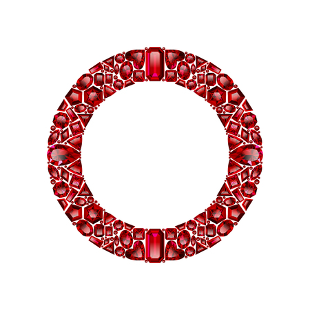 Round frame made of realistic red rubies with complex cuts isolated on white background. Jewel and jewelry. Colorful gems and gemstones. Trilliant, pear, oval, marquise, heart, triangle, lozenge. Ilustracja