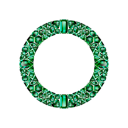 Round frame made of realistic green emeralds with complex cuts isolated on white background. Jewel and jewelry. Colorful gems and gemstones. Trilliant, pear, oval, marquise, heart, triangle, lozenge. Zdjęcie Seryjne - 120591729