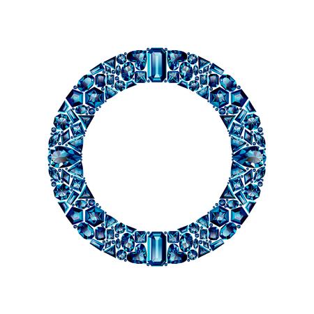 Cadre rond fait d'améthystes bleues réalistes avec des coupes complexes isolées sur fond blanc. Bijou et bijoux. Gemmes et pierres précieuses colorées. Trilliant, poire, ovale, marquise, coeur, triangle, losange.