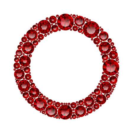 Round frame made of realistic red rubies with complex cuts isolated on white background. Jewel and jewelry. Colorful gems and gemstones. Magna, royal, zinnia, trap, single, swiss, sphere, zircon.