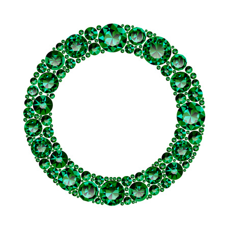 Round frame made of realistic green emeralds with complex cuts isolated on white background. Jewel and jewelry. Colorful gems and gemstones. Magna, royal, zinnia, trap, single, swiss, sphere, zircon.