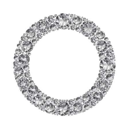 Round frame made of realistic shining diamonds with complex cuts isolated on white background. Jewel and jewelry. Colorful gems and gemstones. Magna, royal, zinnia, trap, single, swiss, sphere, zircon.