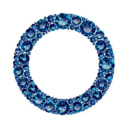 Cadre rond fait d'améthystes bleues réalistes avec des coupes complexes isolées sur fond blanc. Bijou et bijoux. Gemmes et pierres précieuses colorées. Magna, royal, zinnia, piège, unique, suisse, sphère, zircon. Vecteurs