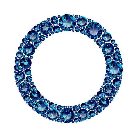 Round frame made of realistic blue amethysts with complex cuts isolated on white background. Jewel and jewelry. Colorful gems and gemstones. Magna, royal, zinnia, trap, single, swiss, sphere, zircon.