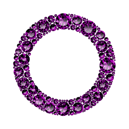 Round frame made of realistic purple amethysts with complex cuts isolated on white background. Jewel and jewelry. Colorful gems and gemstones. Magna, royal, zinnia, trap, single, swiss, sphere, zircon