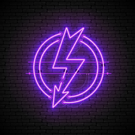 Shining and glowing purple lightning neon sign in circle isolated on brick wall background. Bright neon sign, night advertisement logo, vector illustration.