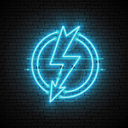 Shining and glowing blue lightning neon sign in circle isolated on brick wall background. Bright neon sign, night advertisement logo, vector illustration. Zdjęcie Seryjne - 120591769