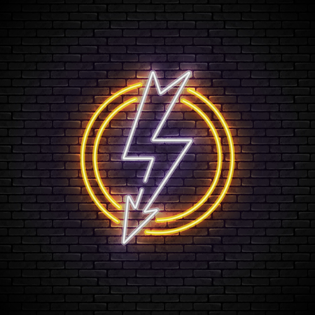 Shining and glowing white lightning neon sign in yellow circle isolated on brick wall background. Bright neon sign, night advertisement logo, vector illustration.