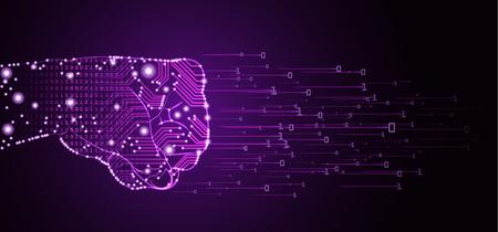 Big data and artificial intelligence domination concept. Vektorové ilustrace