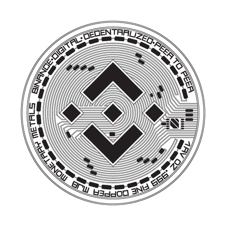Crypto currency black coin with black binance symbol on obverse isolated on white background. Vector illustration. Use for logos, print products, page and web decor or other design.  イラスト・ベクター素材