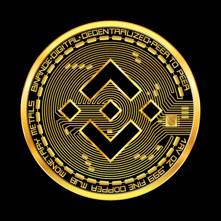 Crypto currency golden coin with black lackered binance symbol on obverse isolated on black background. Vector illustration. Use for logos, print products, page and web decor or other design.